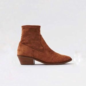 American Eagle sock booties tan suede NWOB